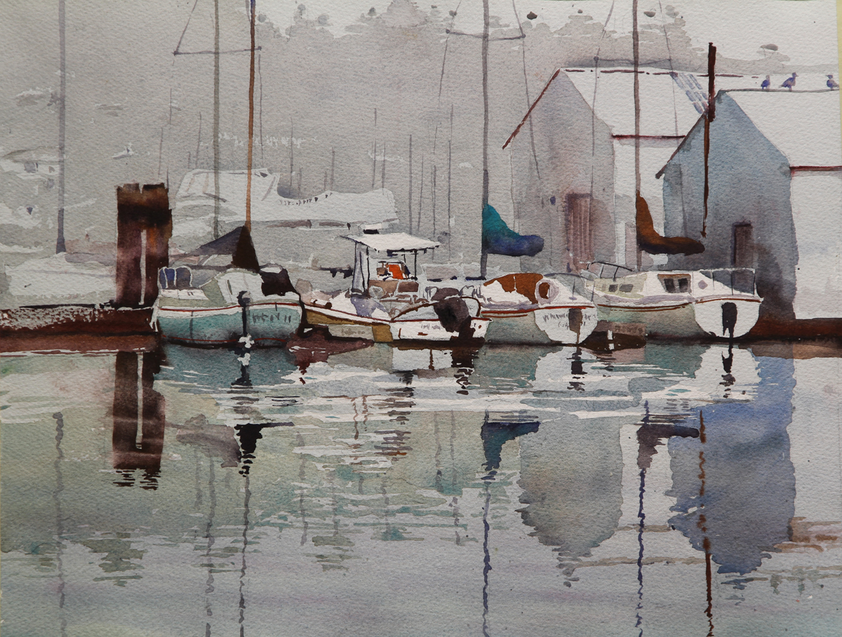 Rex Beanland, All Quiet In Gibson's Harbour, watercolour, 14 x 18