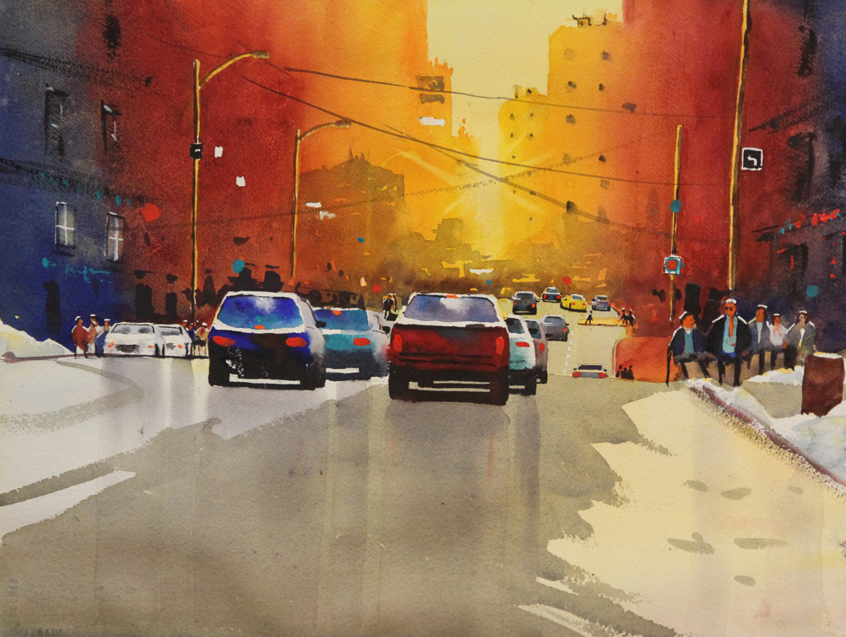 Rex Beanland, Jasper Ave, watercolour, 15 x 20
