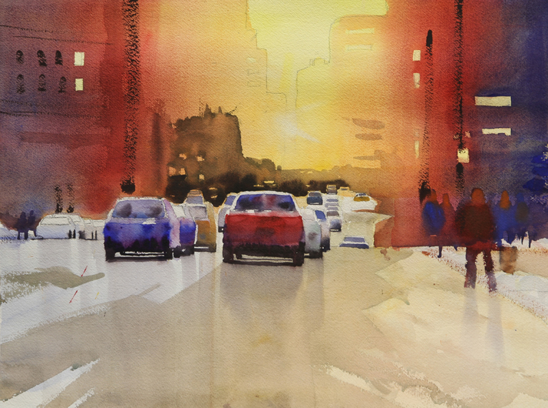 Rex Beanland, Jasper Ave at end of workshop, watercolour, 15 x 20