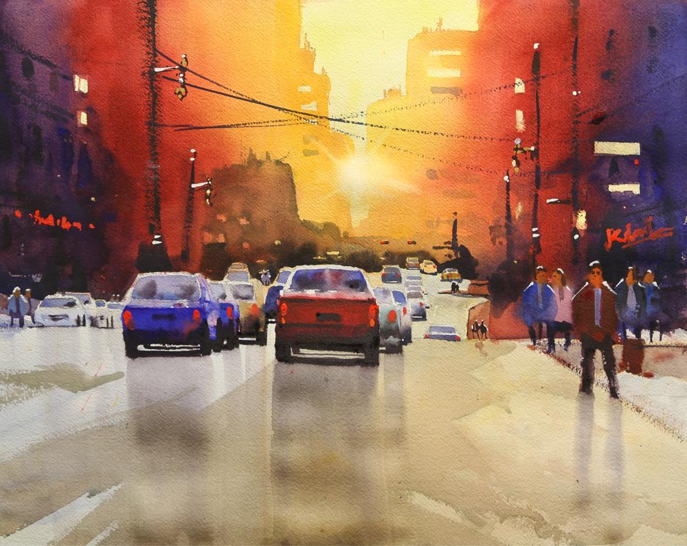 Rex Beanland, Jasper Ave Final, watercolour, 15 x 20