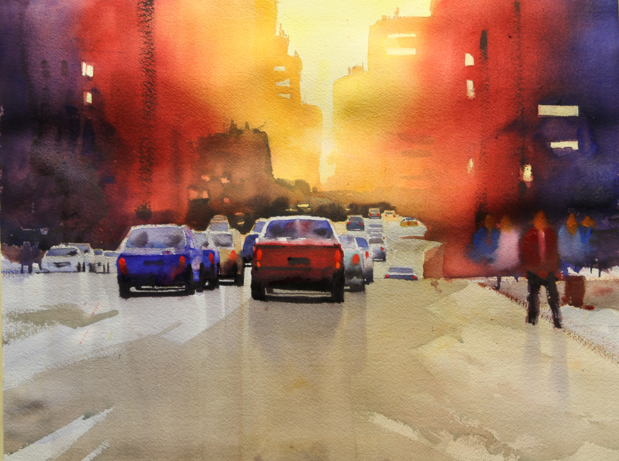 Rex Beanland, Jasper Ave second stage, watercolour, 15 x 20