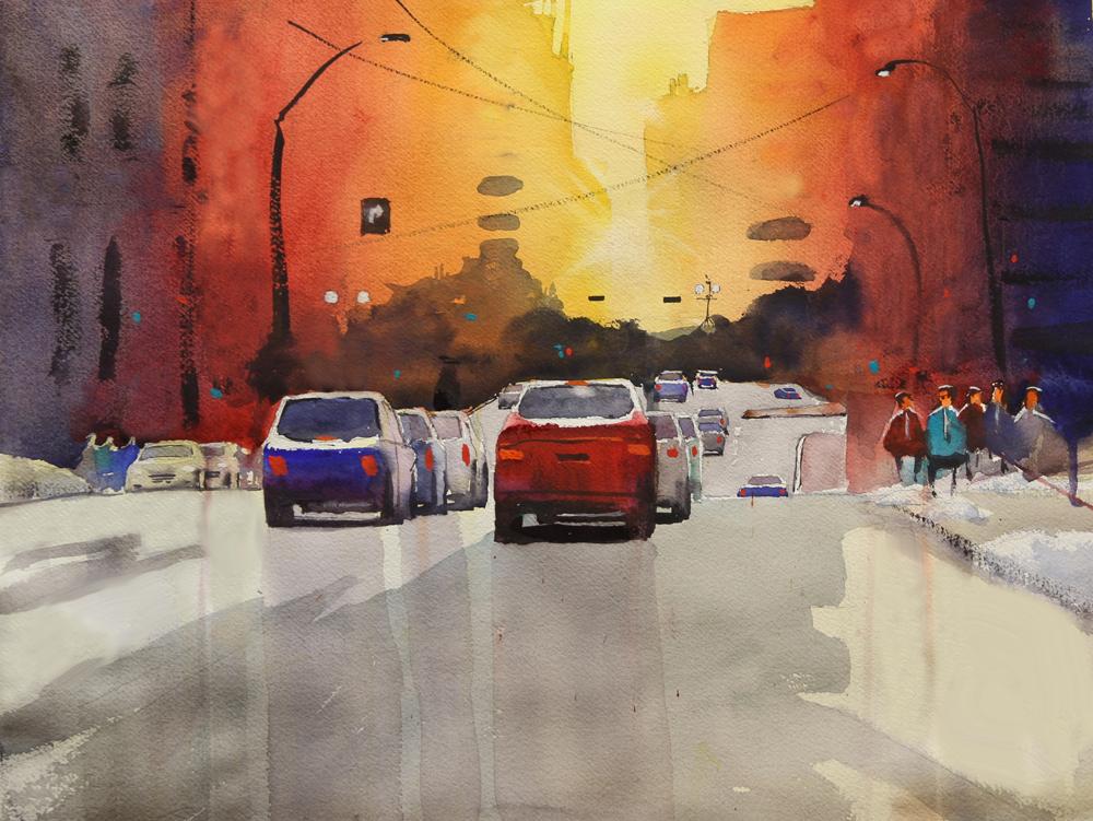 Rex Beanland, Mr Cool Surveys The Avenue, watercolour, 15 x 20