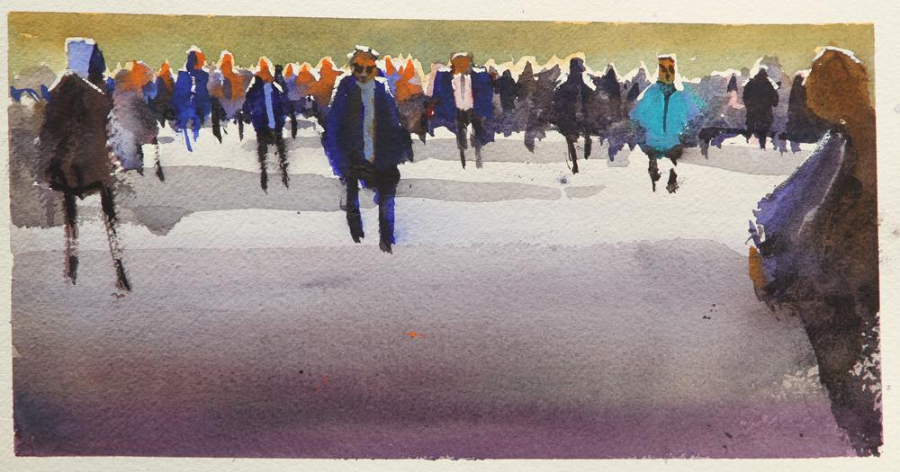 Rex Beanland, Crowd Practice, watercolour, 6 x 13