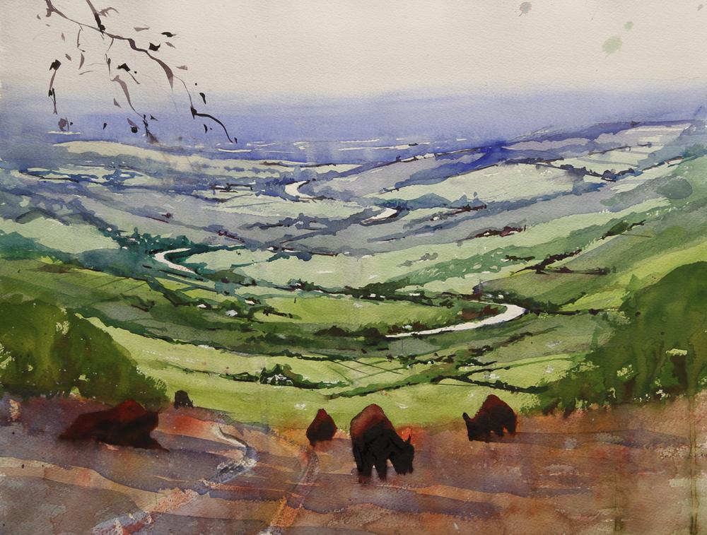 Rex Beanland, Foothills & Buffalo, watercolour, 15 x 20