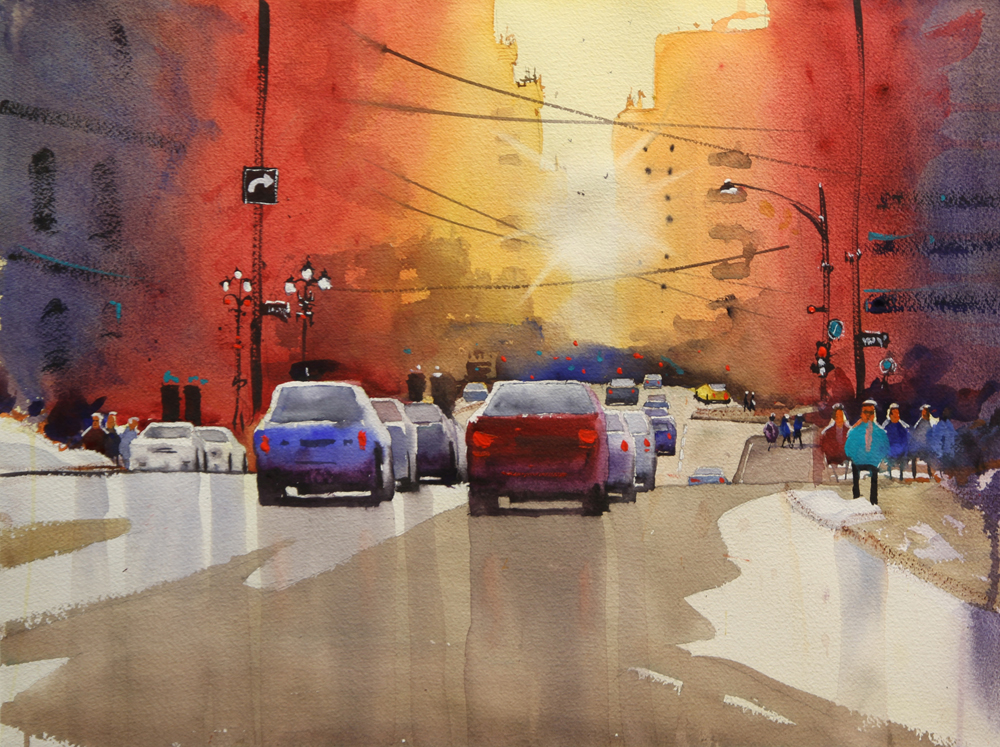 Rex Beanland, Jasper Ave (Swinton 2018), watercolour, 15 x 20
