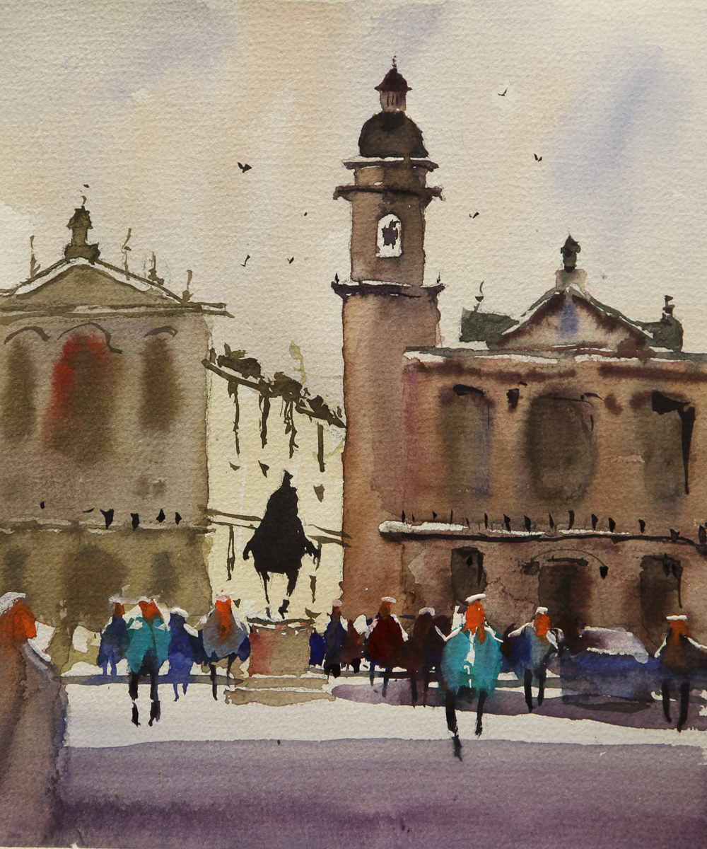 Rex Beanland, Piazza & People, watercolour, 8 x 7