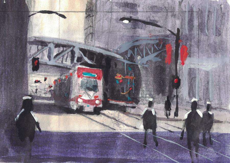 Rex Beanland, The LRT, First Go, watercolour, 7 x 6