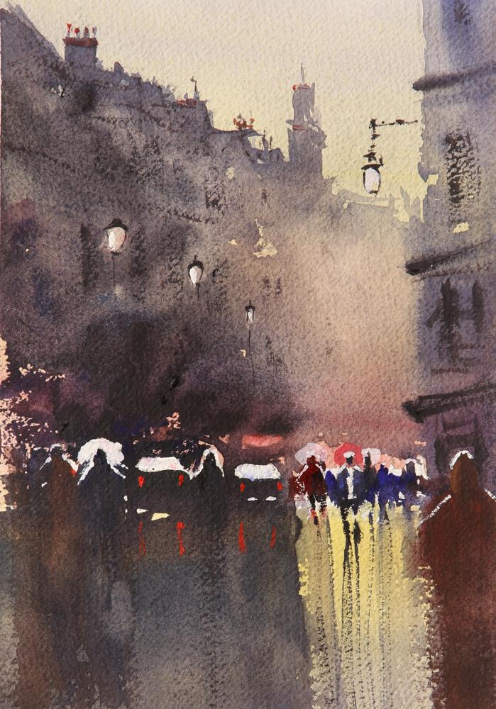 Rex Beanland, Charing Cross 2, watercolour, 8 x 6