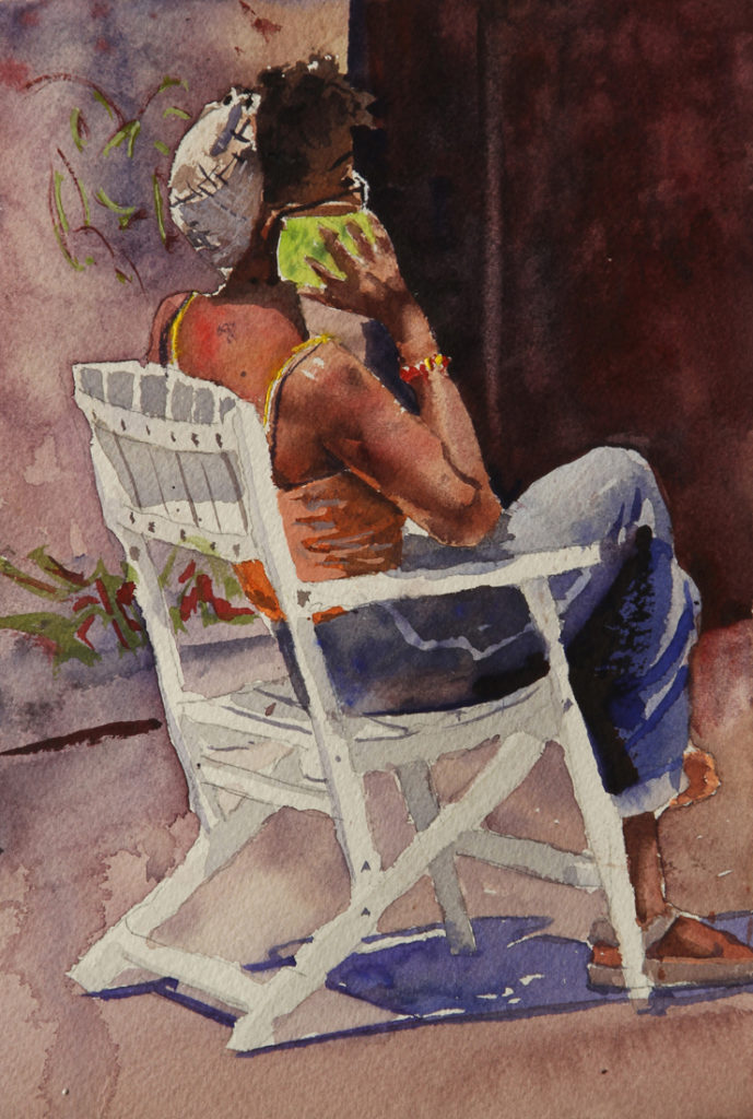 Rex Beanland, Girl On Phone Kensington Market, watercolour, 9 x 5