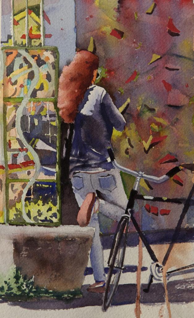 Rex Beanland, Girl Kensington Market, watercolour, 9 x 5