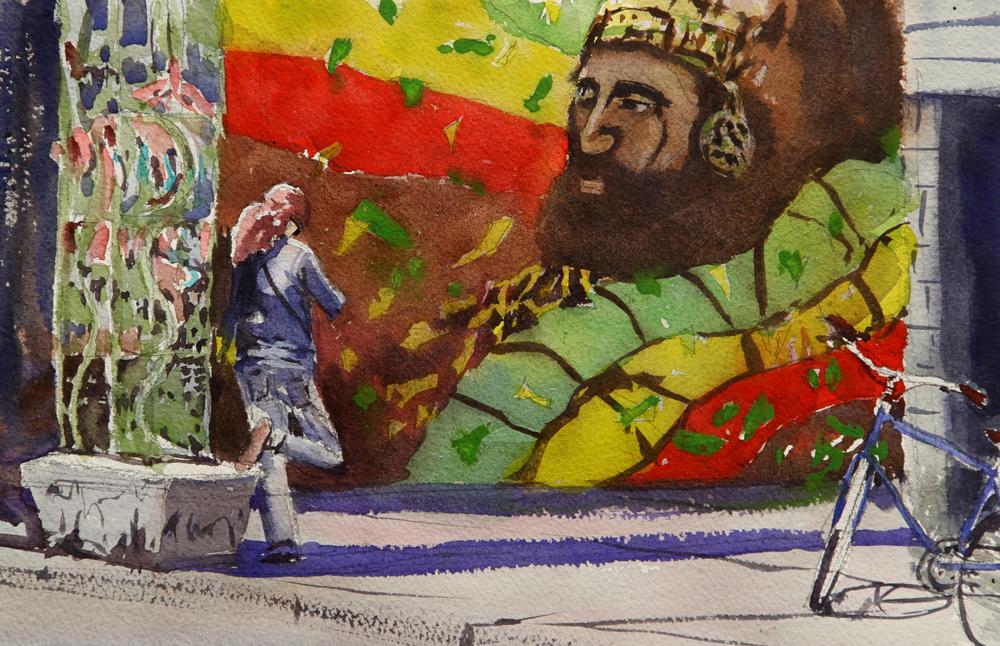 Rex Beanland, Girl In Kensington Market, watercolour 9 x 13