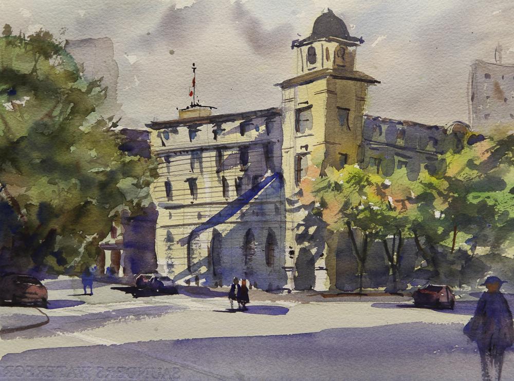Rex Beanland, Lethbridge, watercolour, 9 x 12