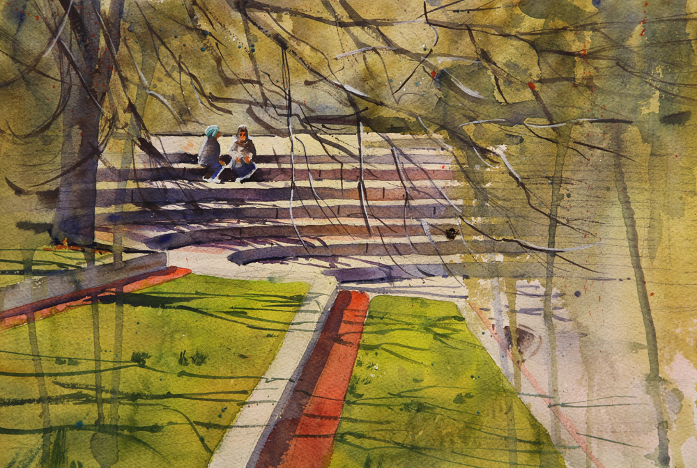 Rex Beanland, Olympic Plaza, watercolour, 9 x 12