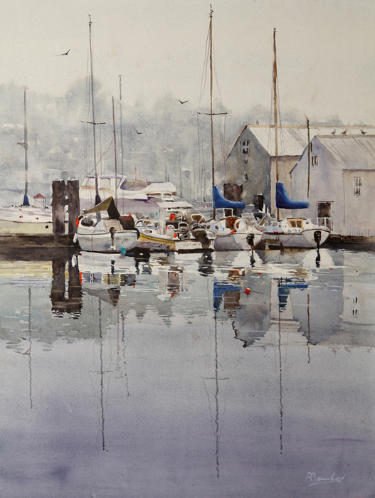 Rex Beanland, All Quiet In Gibsons Harbour, watercolour, 24 x 18