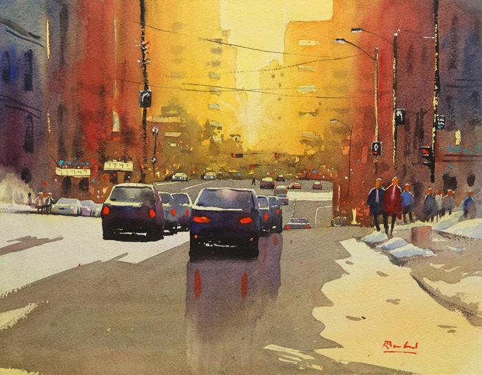 Rex Beanland, Jasper Ave, watercolour, 11 x 14
