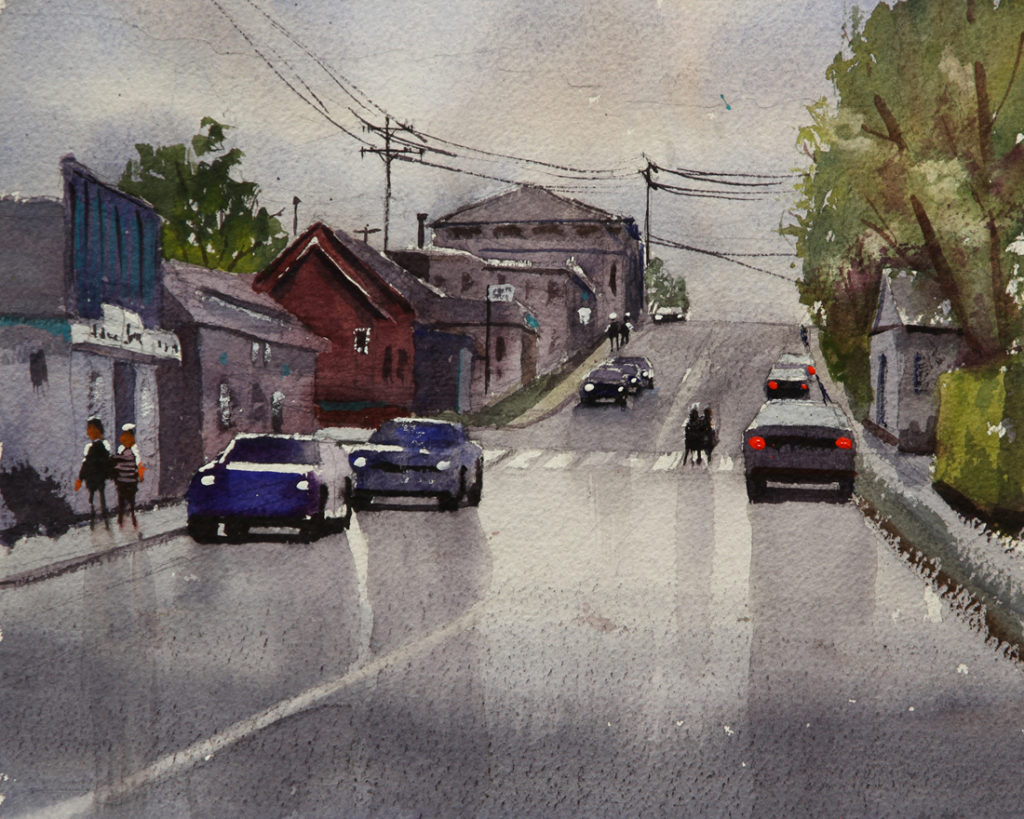 Rex Beanland, A Rainy Day In Rocky Mountain House, watercolour, 9 x 9