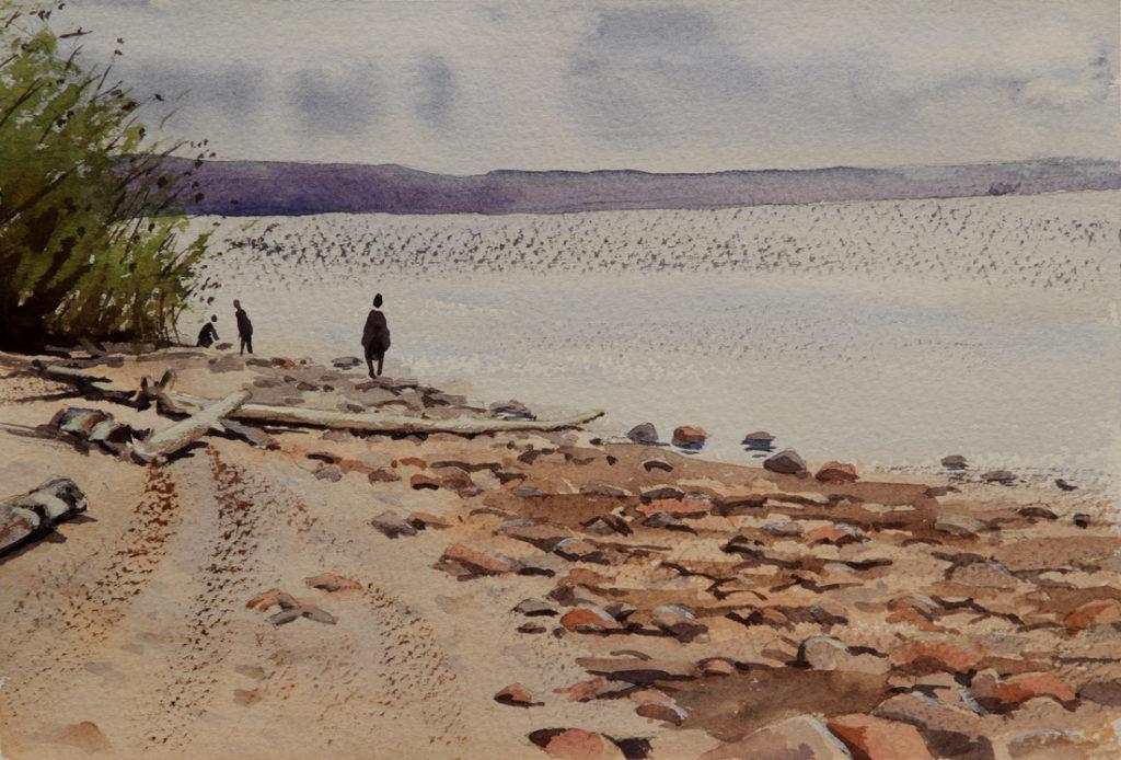 Rex Beanland, Slave Lake Walkabout, watercolour, 9 x 12