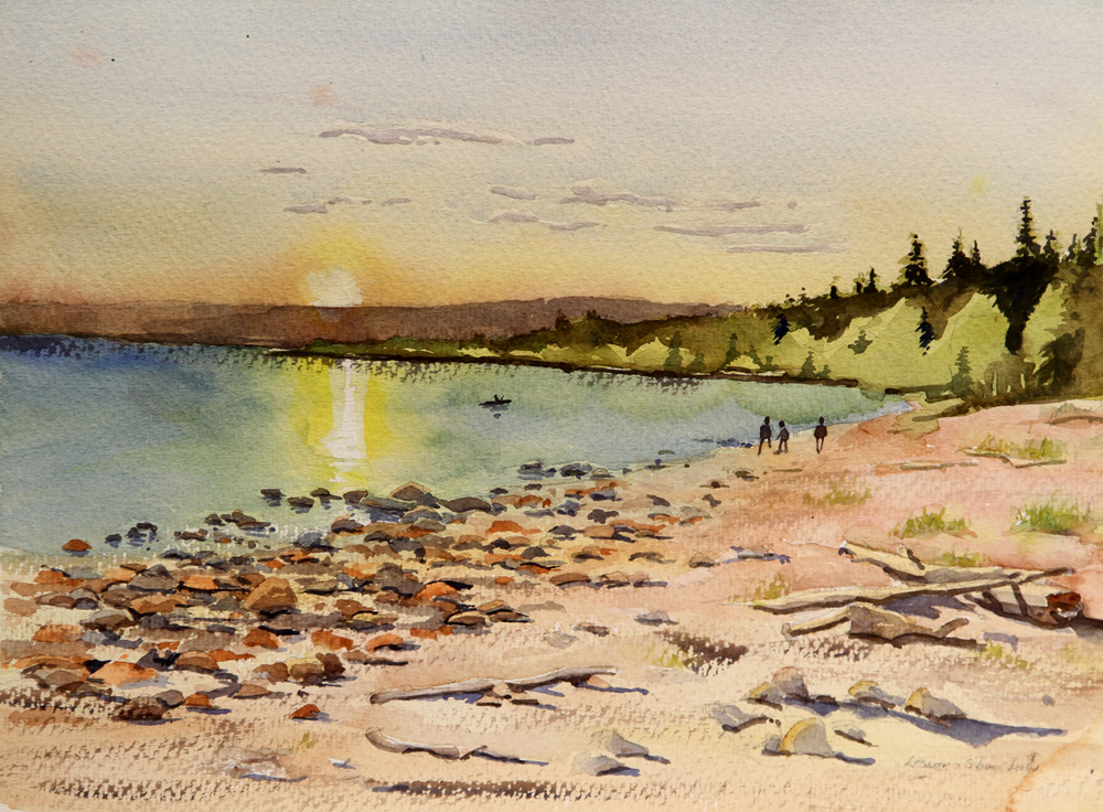 Rex Beanland, Slave Lake, watercolour, 9 x 12