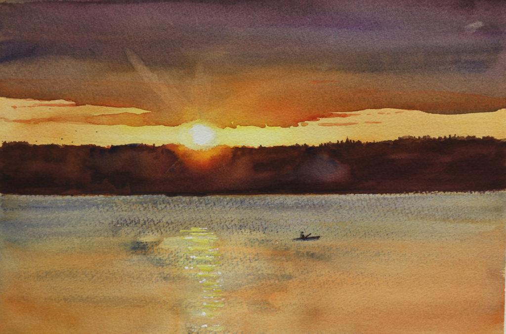 Rex Beanland, Sunset Over Thunder Lake, watercolour, 9 x 12