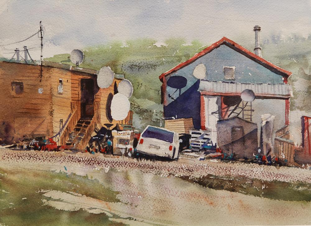 Rex Beanland, Satellite City, watercolour, 11 x 15