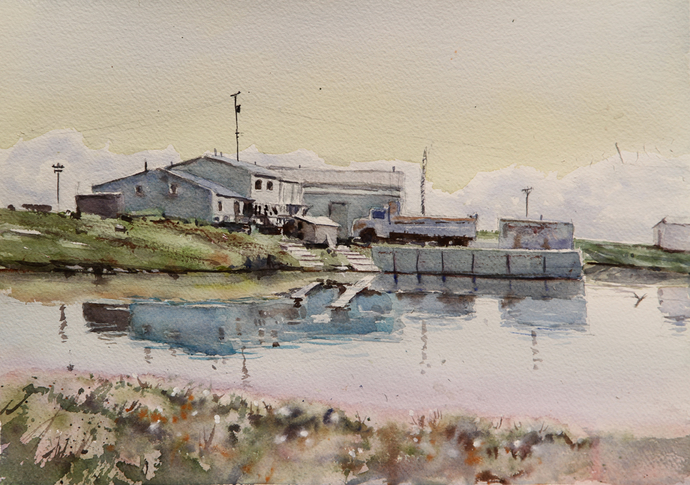 Rex Beanland, Tuktoyaktuk Reflections, watercolour, 11 x 15