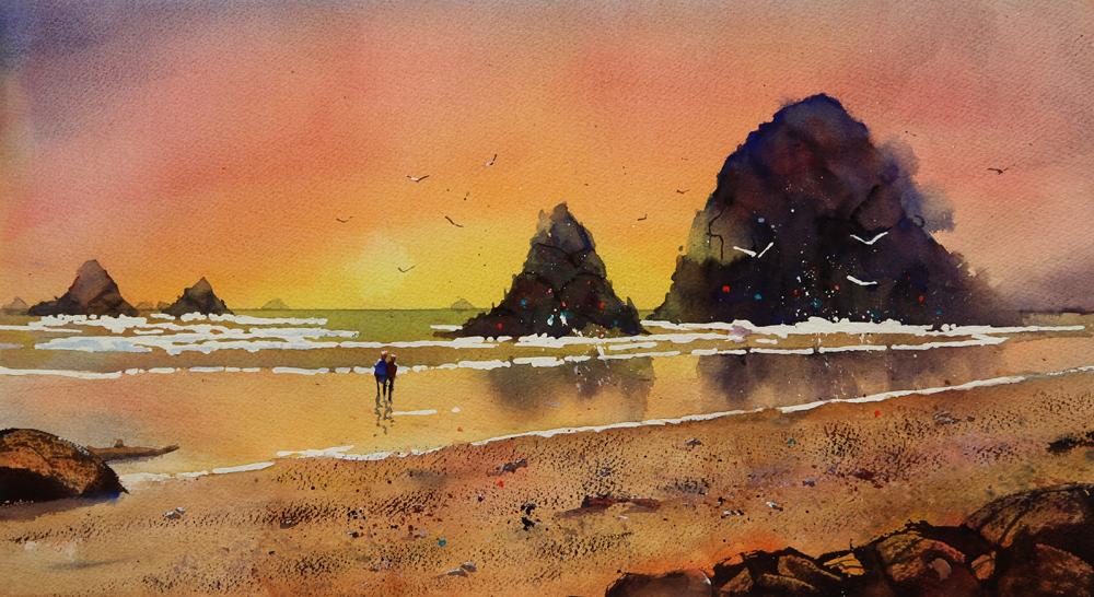 Rex Beanland, The Hat Art Club Workshop, watercolour, 18 x 12