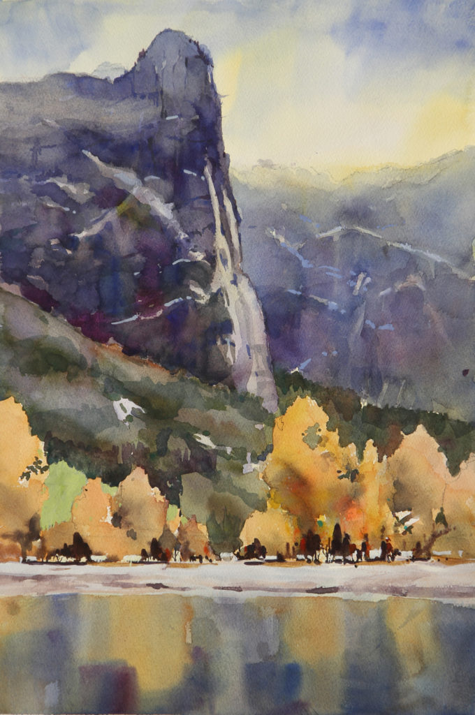 Rex Beanland, Sentinel Dome, Laitenin Workshop, watercolour, 22 x 15