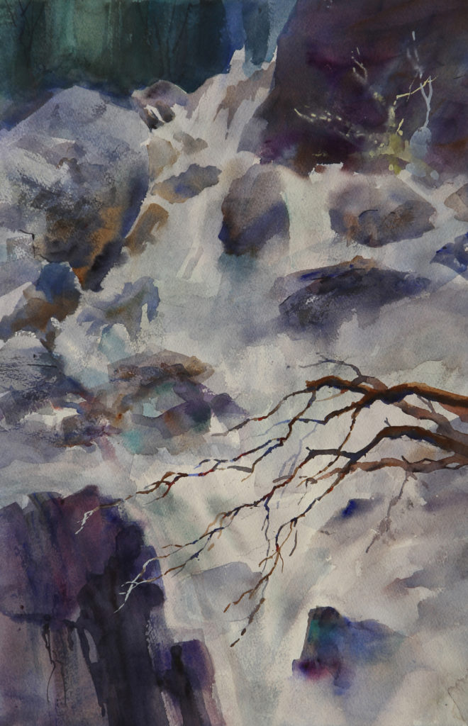 Rex Beanland, Waterfall, Laitenin Workshop, watercolour, 22 x 15