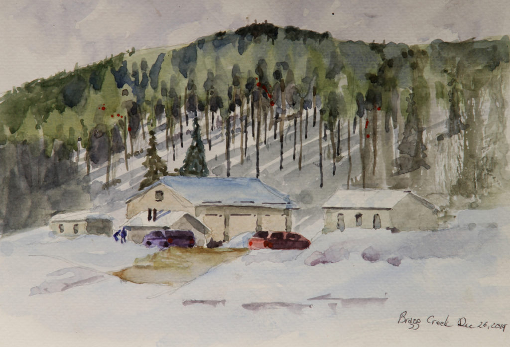 Rex Beanland, Bragg Creek Trees, watercolour, 9 x 12