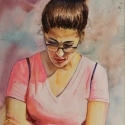Rex Beanland, Girl In Pink, watercolour, 16 x 12
