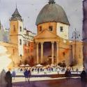 Rex Beanland, Piazza del Popolo, watercolour, 16 x 12