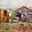 Rex Beanland, Satellite City – Tuktoyaktuk, watercolour, 16 x 20