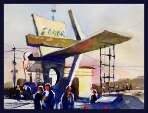 Rex Beanland, Eamon's Camp, watercolour, 9 X 12