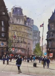Rex Beanland, London, watercolour, 16 X 12