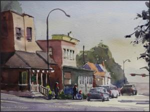 Rex Beanland, Destination 19th St, watercolour, 9 x 12