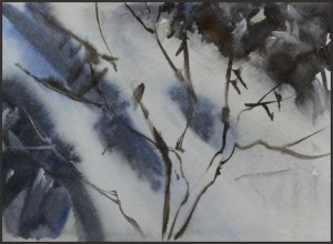 Rex Beanland, Waterfall, watercolour, 9 X 6