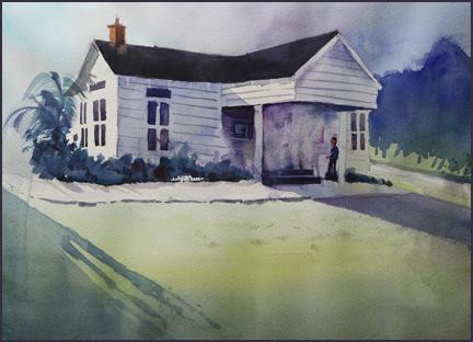 Rex Beanland, watercolour, Historic Florida Building Repair, 16 X 12