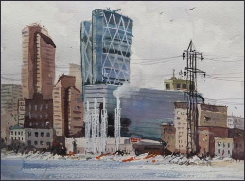 Rex Beanland, Downtown, watercolour, 9 x 12