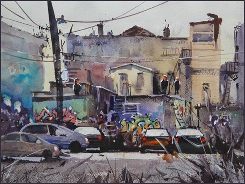 Rex Beanland, Graffiti Backyard, watercolour, 16 x 12