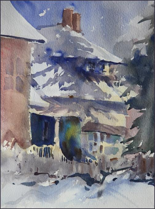 Rex Beanland, Snowy Day In Elbow Park, watercolour, 9 x 12