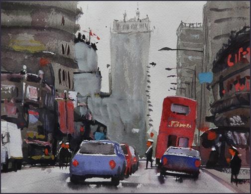Rex Beanland, Yonge St North, watercolour, 9x12