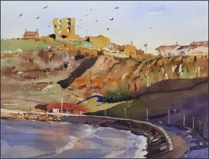 Rex Beanland, Scarborough Castle, watercolour, 9 x 12