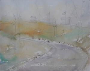 Rex Beanland, Union Cemetery, Wash 1, watercolour, 9 x 12