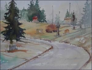 Rex Beanland, Union Cemetery, wash 2, watercolour, 9 x 12