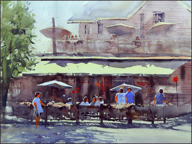 Rex Beanland, Barley Mill watercolour, 15 x 20