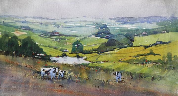 Rex Beanland, Foothills & Cows, watercolour, 11 x 20