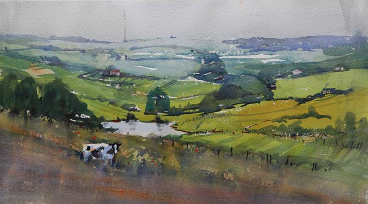 Rex Beanland, Foothills & Cow, watercolour, 11 x 20