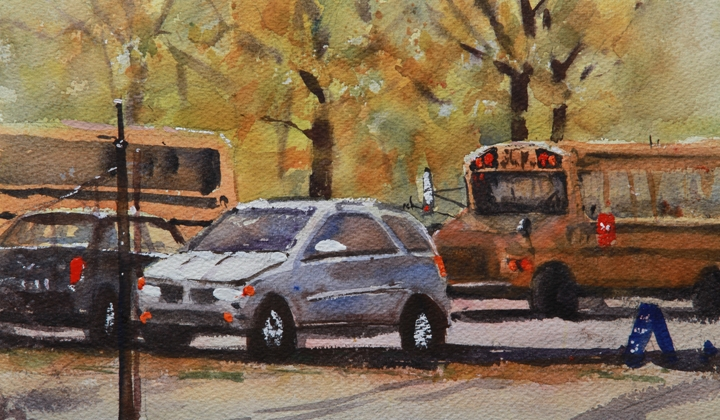 Rex Beanland, Back To School  watercolour, 7 x 12