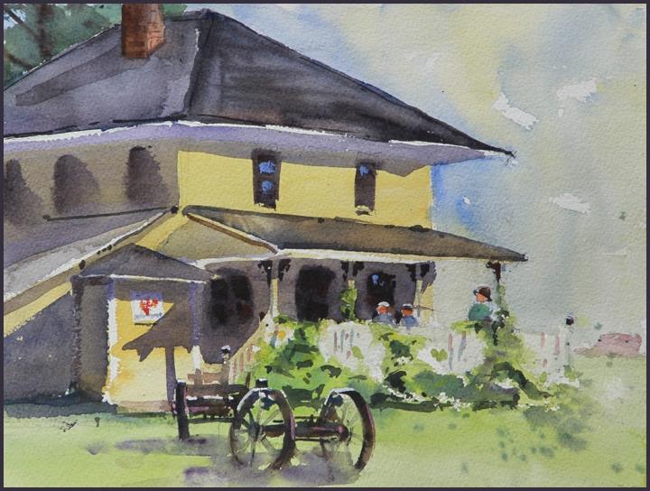 Rex Beanland, Perronoud Ranch watercolour, 9 x 12
