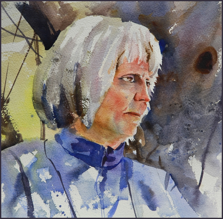 Rex Beanland, Susan Light, watercolour, 11 x 11
